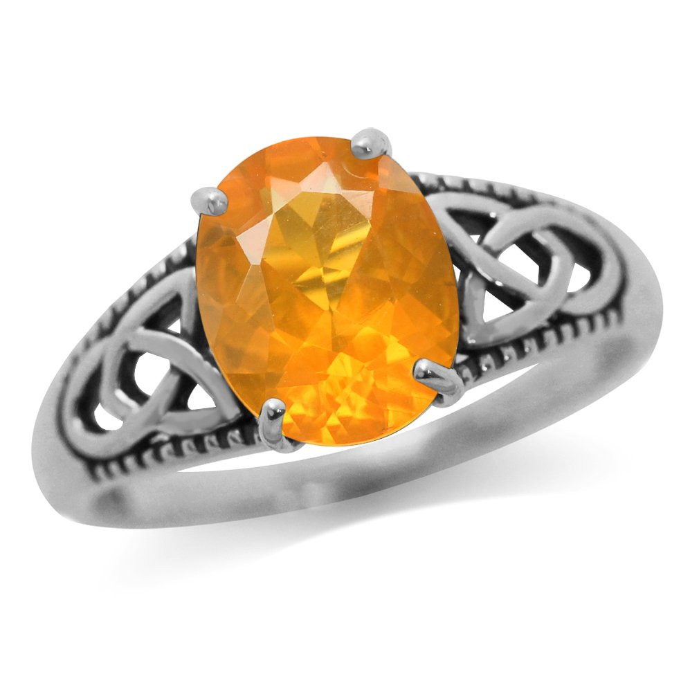 1.74ct. Brazilian Orange Fire Opal 925 Sterling Silver Triquetra Celtic Knot Solitaire Ring Size 8