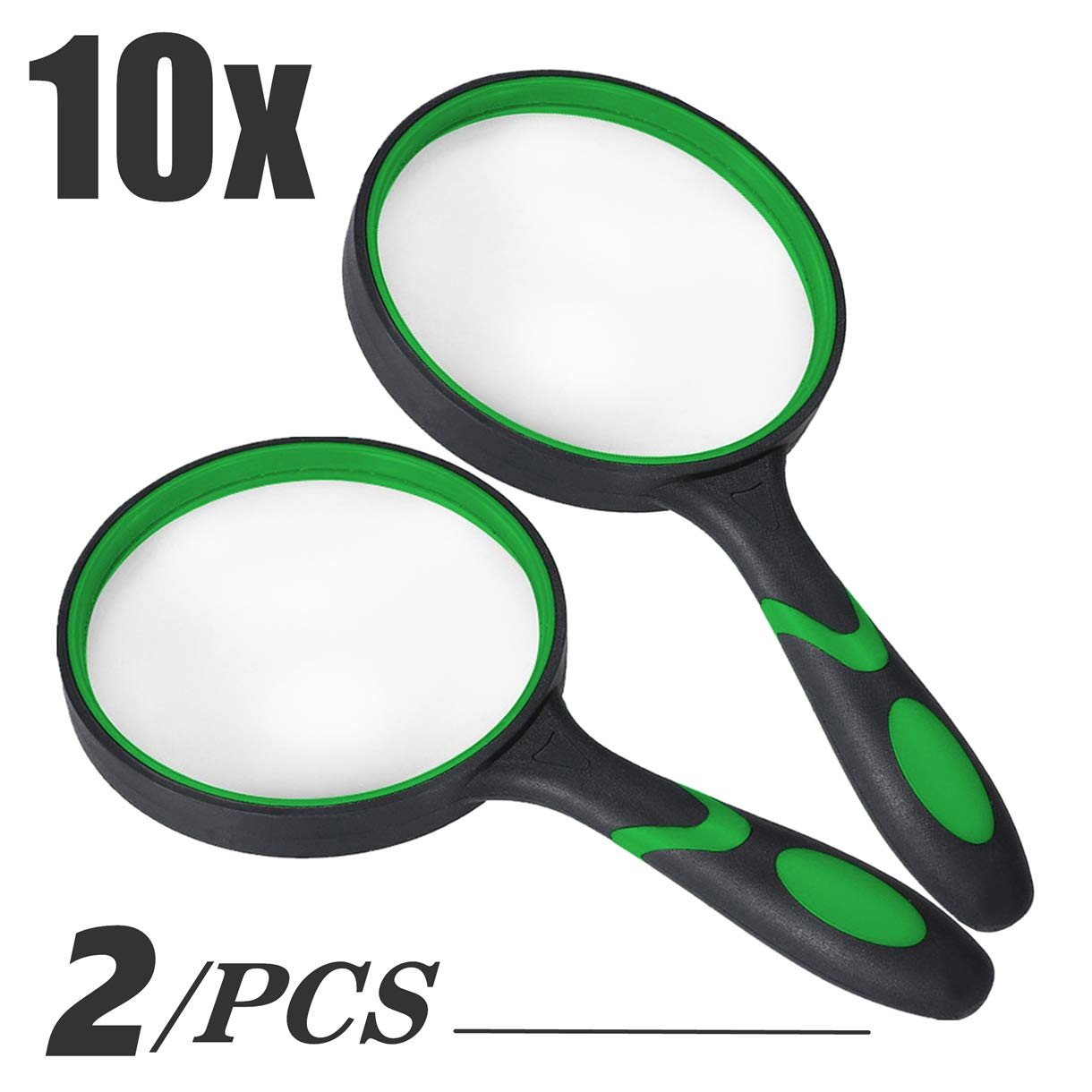 Thickened Rubbery Glass Frame with Non-Slip Handheld Soft Handle Design for Seniors//Kids Newspapers Books Maps Reading//Science Discovery Hobby Reading Magnifier with 75mm Lens Magnifying Glass 10x