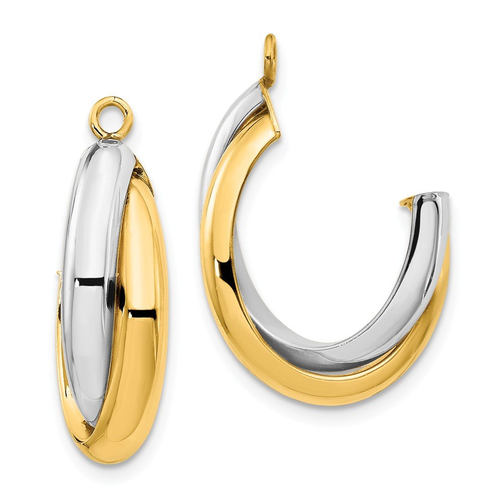 14k Two Tone Yellow Gold Double J Hoop Earrings Ear Hoops Set Jacket Jackets Studs Fine Jewelry Gifts For Women For Her by ICE CARATS