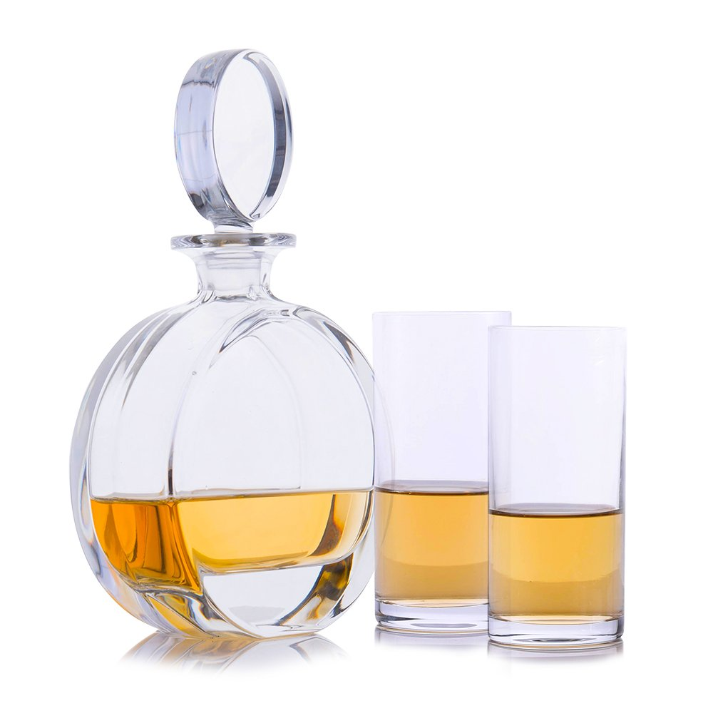 Cooper Liquor Whiskey Crystal Decanter with 2 Highball Cocktail Glasses by Crystalize (3 Piece Highball Set)