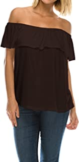 product image for Womens On or Off Shoulder Ruffle Neck Flowy Blouse Top Made in USA