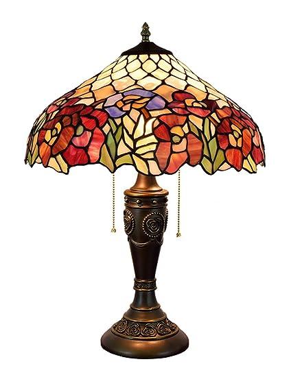 DLewiee Flores Rojas Lámpara de Mesa Decorativa Fuente de luz LED ...