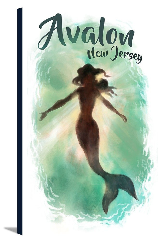 Avalon New Jersey Mermaid Underwater 24x36 Gallery Wrapped Stretched Canvas