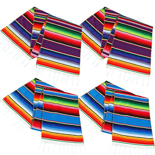 Aneco 4 Pack 14 by 84 Inch Mexican Table Runner Mexican Serape Blanket Cotton Colorful Fringe Table Runners for Mexican Party Wedding Kitchen Outdoor Decorations -