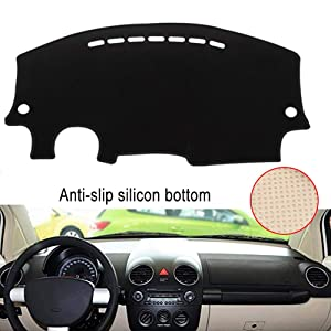 Clidr Dashboard Cover Dash Cover Mat Pad DashMat for 1998-2010 Volkswagen Beetle (Black Edge)