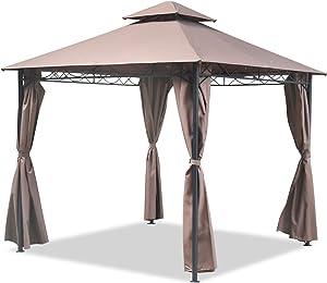 FDW Gazebo Canopy Tent 10' X 10' BBQ Outdoor Patio Grill Gazebo for Patios Large Garden Top Gazebo with Sidewall Party Tent