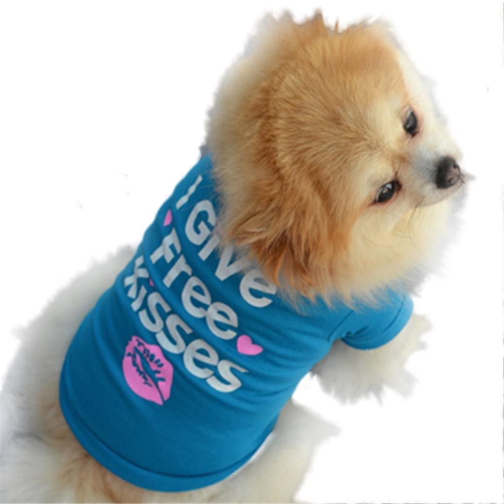 BEAUTYVAN Dog Clothes, Cute Pet Puppy Summer Shirt Small Dog Cat Pet Clothes Vest T Shirt (M, Blue)