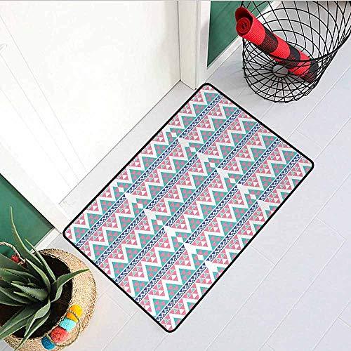 GloriaJohnson Aztec Front Door mat Carpet Herringbone Pattern with Triangles Ethnic Geometric Arrangement with Chevron Zigzags Machine Washable Door mat W15.7 x L23.6 Inch Multicolor