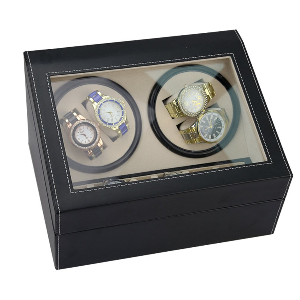 Luxury 4+6 Automatic Rotation Quad Watch Winder Wood with Black Leather Storage Display Case Box HGJ14-US
