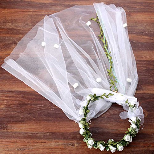 Aukmla Flower Wreath Headband Halo Handmade Floral Crown Garland Headpiece Adjustable Wedding Festival Party (White flower with veil) ()
