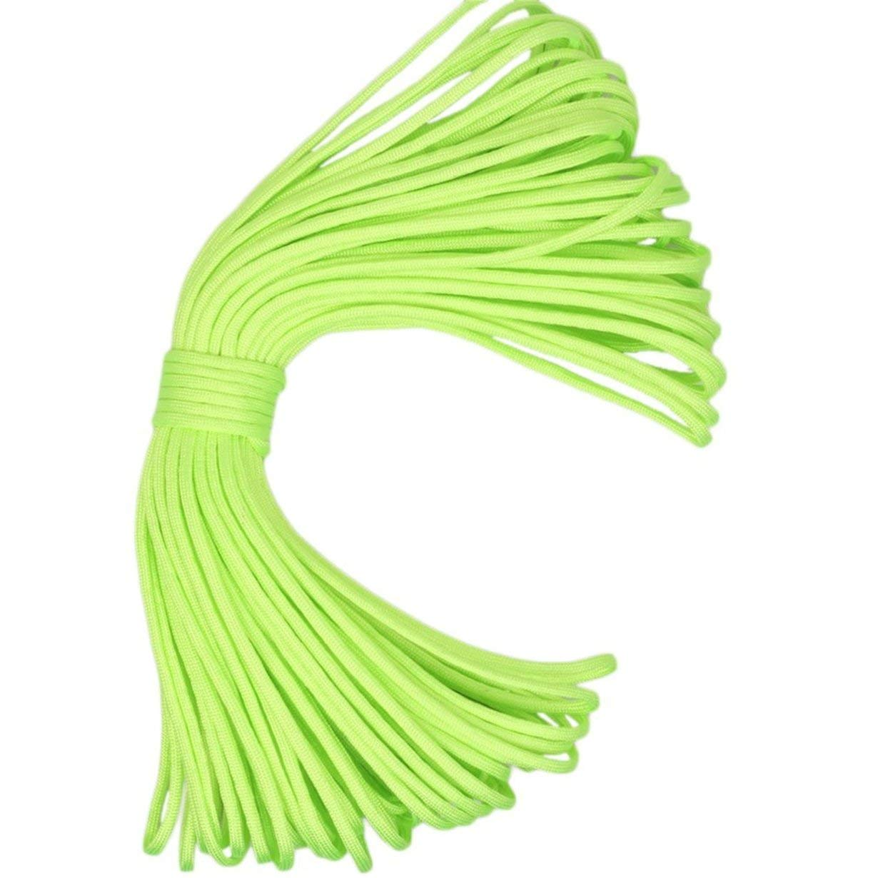 Verde Fluorescente Camellia Paracord 550 Paracord Cord/ón de paraca/ídas Cuerda de cord/ón 7 Hilos 100 pies Equipo de Supervivencia para Acampar Escalada