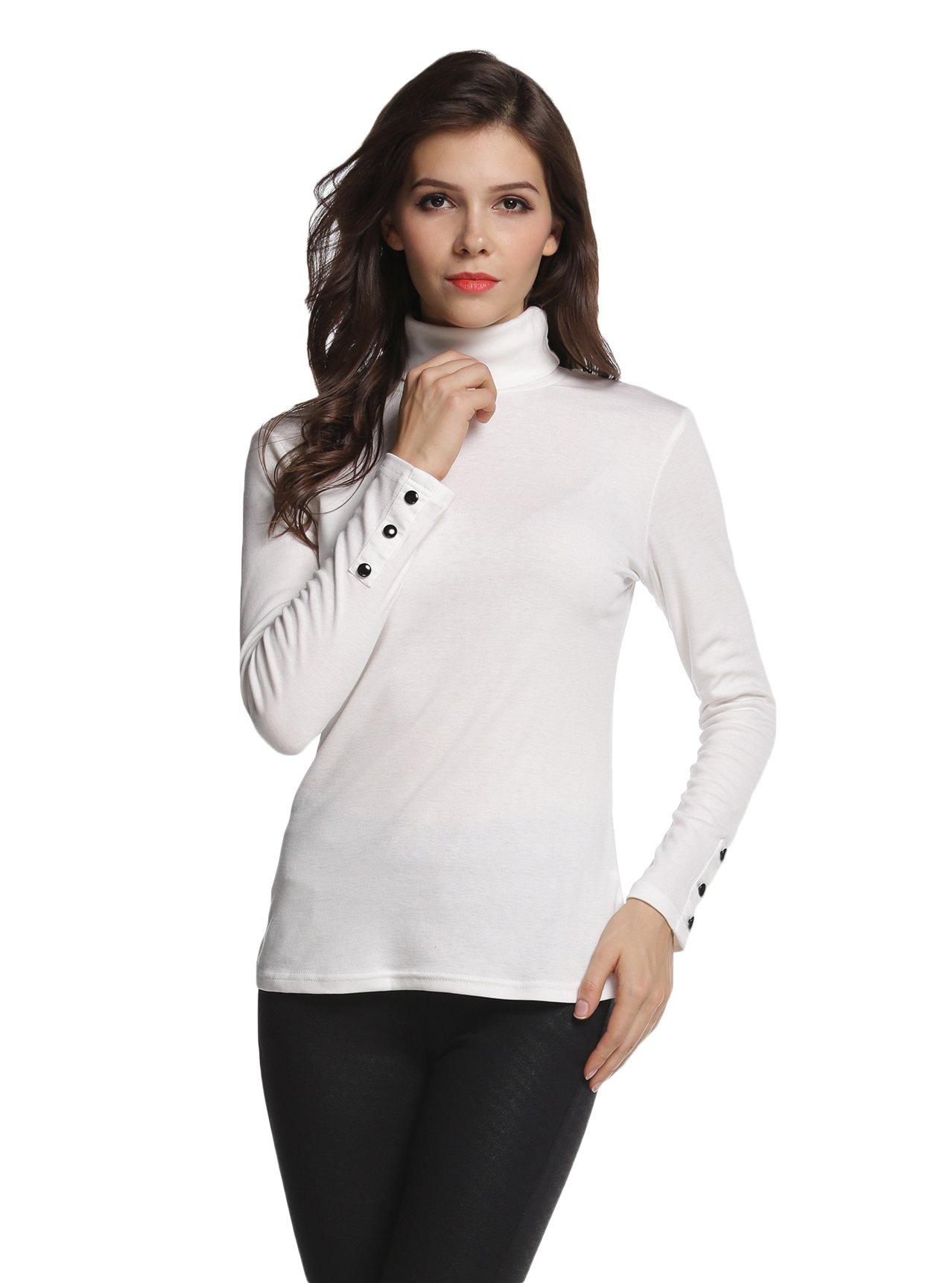 Sofishie Long Sleeve Shirt with Turtle-Neck - White - Large