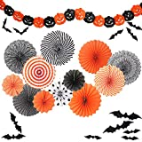 Yunison Halloween 12pc Paper Fan Decorations Kit DIY Ceiling Hanging Paper Fans, Smile Pumpkin Party Banner, 24pc 3D Bat Wall Stickers Window Decor Supplies