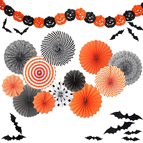 Yunison Halloween 12pc Paper Fan Decorations Kit DIY Ceiling Hanging Paper Fans, Smile Pumpkin Party Banner, 24pc 3D Bat Wall Stickers Window Decor