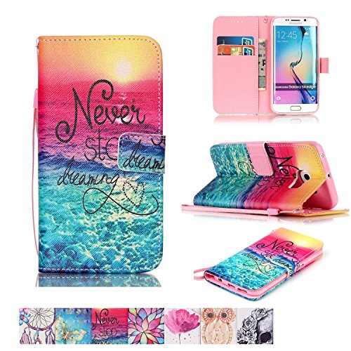 Galaxy S6 Edge Case, Firefish [Kickstand] [Card/Cash Slots] Impact Dispersion PU Leather Wallet Flip Cover with Wrist Strap for Samsung Galaxy S6 Edge