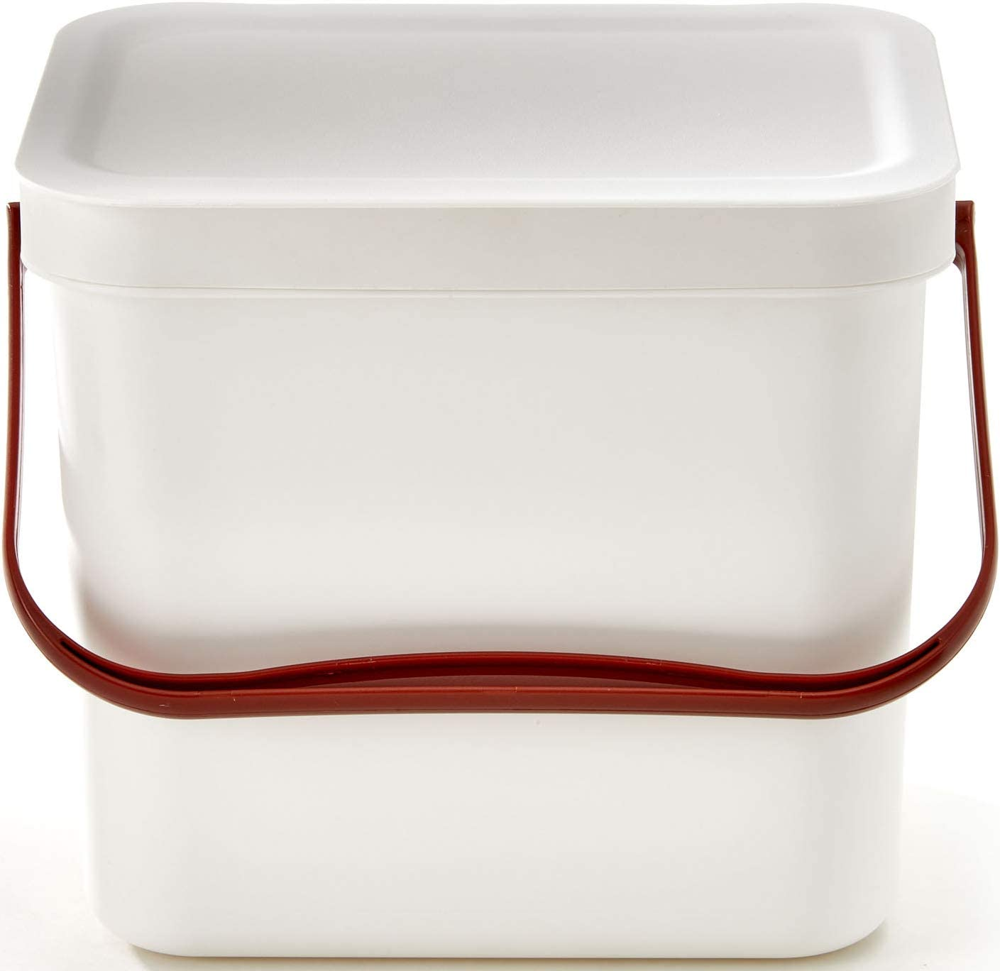 Modern Oversized 1.8 Gallon Plastic Kitchen White Compost Bin with Locking Lid - Sturdy Construction & Odor-Free Seal to Prevent Bugs & Smell – Scandinavian Modern Design and Dishwasher Safe