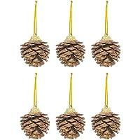 Kikajoy Yılbaşı Çam Ağacı Süsü Kozalak Altın 4 cm 6'lı