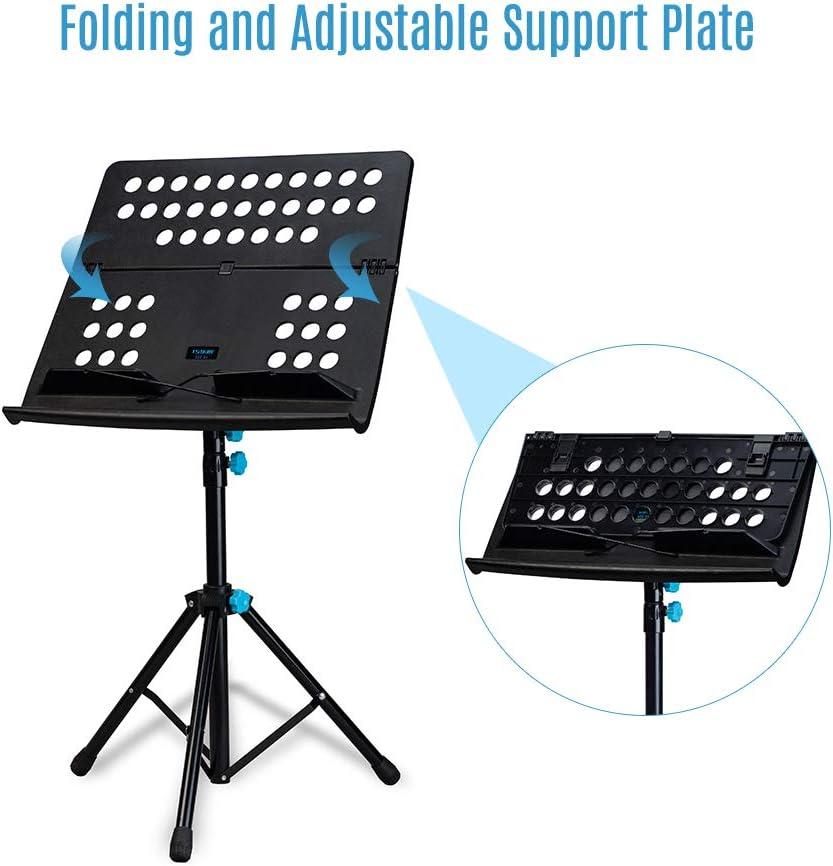 Muslady Kit de Atril Plegable Portátil Altura Ajustable de 3 Niveles con Bolsa de Transporte Negra: Amazon.es: Instrumentos musicales