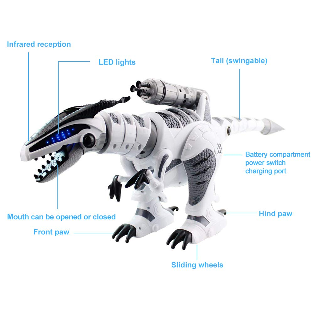 M AOMEIQI Intelligent Remote Control Dinosaur Electronic Programmable Interactive Robotic Dino Toy with Lights and Sounds,Rotation Stunt,Missile Launchers by M AOMEIQI (Image #5)
