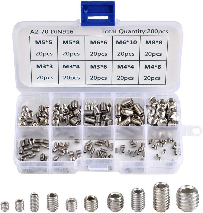 360pcs Hex Allen Head Socket Set Screw Assortment Kit 304 Stainless Steel M4,M5,M6 8mm to 30mm Lengths