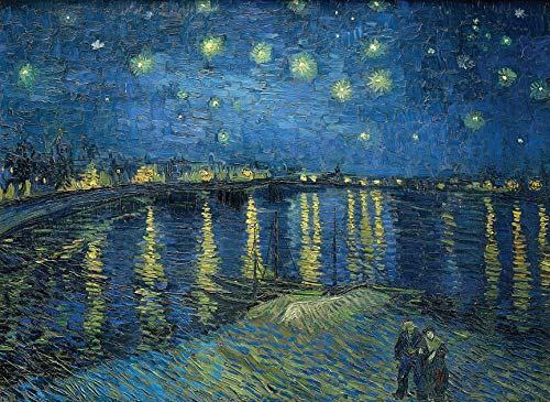 - Starry Night Over The Rhone by Vincent Van Gogh - Laminated Fine Art Poster - Wall Art Painting Print - 18