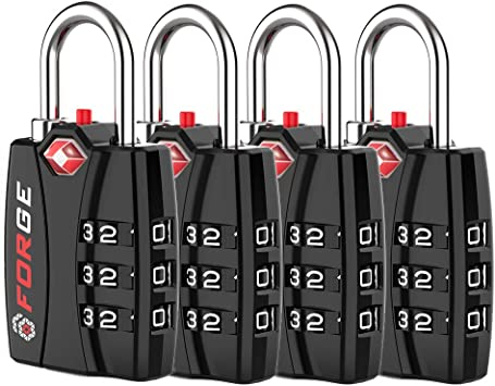 Combination Lock for Suitcases 4 Pack Set Luggage Travel Lock Black Bags and Gym Lockers