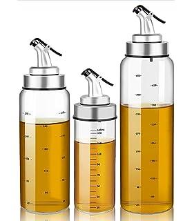Fyuan 1pcs Dispensador de Aceite de Oliva y Vinagre - 6 oz Botellas Cruet de Vidrio