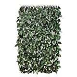 GardenKraft 26140 2 x 1 m Dark Ivy Leaf Expandable Artificial Willow Fence Panel Screening Privacy Hedging Landscaping Green Garden