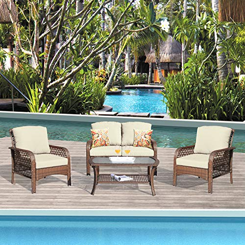 XIZZI Patio Sets, Outdoor Patio Furniture, All Weather Patio Furniture, PE Rattan Wicker with 2 Pillows and 1 Furniture Covers (Brown,Beige)
