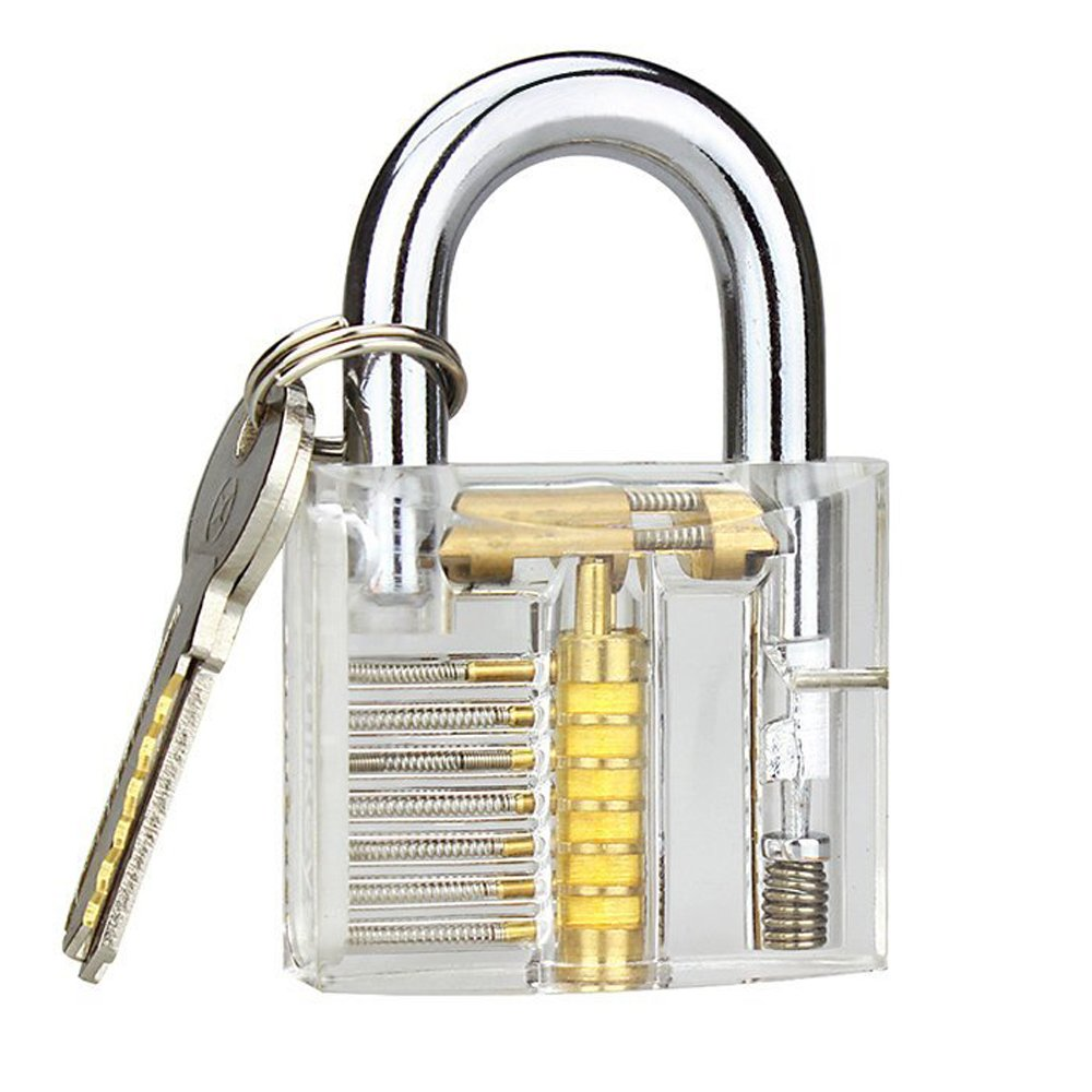 Banwen Professional Practice Lock, Transparent Cutaway Practice Tools for Locksmith (Clear Lock)