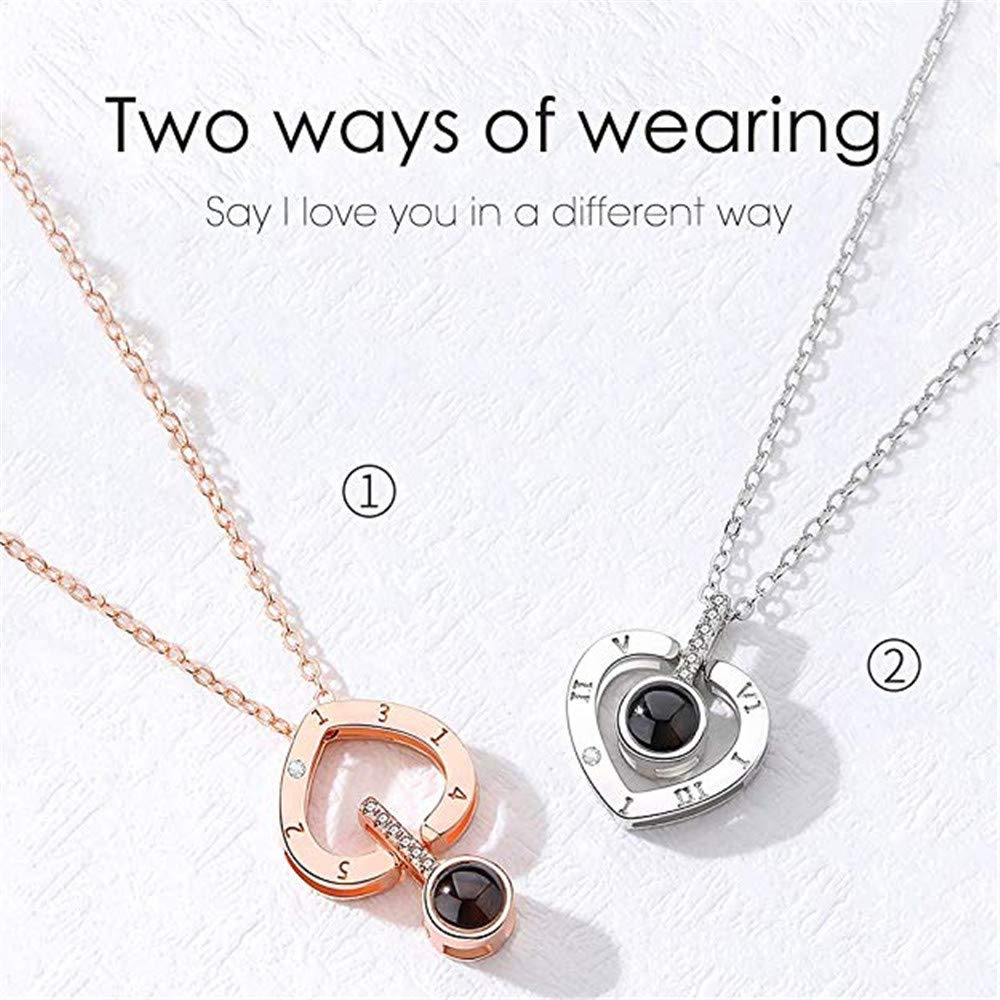 ZHJ8 Customized Photo Necklace 925 Sterling Silver Projective Necklace The Memory of Love Necklace100 Different Languages for I Love U Mothers Day
