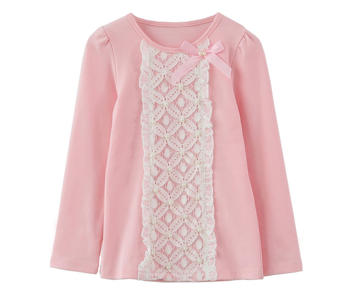ZHUANNIAN Little Girls Flower Long Puff Sleeve Blouses T-Shirts (5t, Pink)