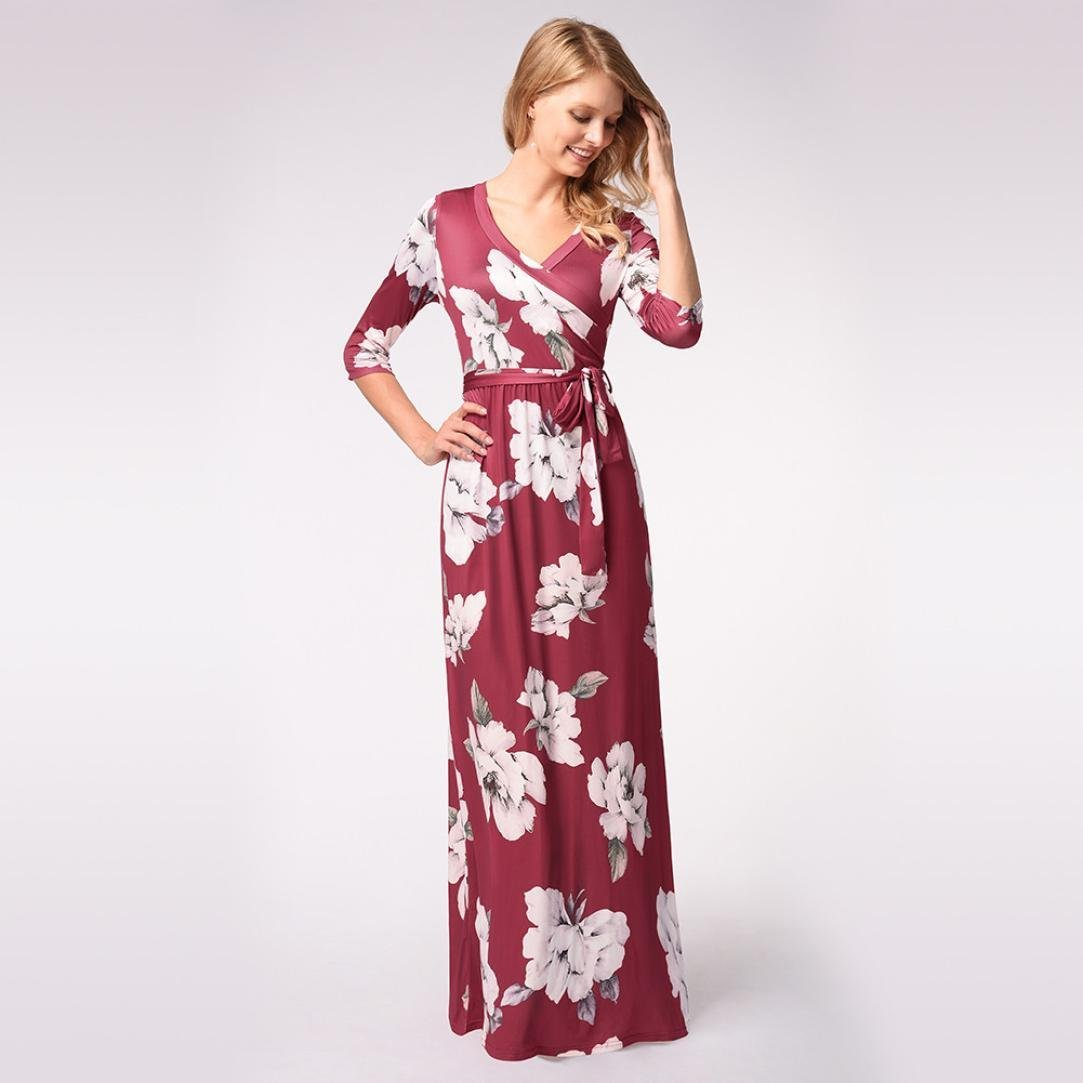 7bd2db09a7 Dacawin Fashion Women Floral Boho 3 4 Sleeve Maxi Dress Evening Party Long  Dress with Belt at Amazon Women s Clothing store