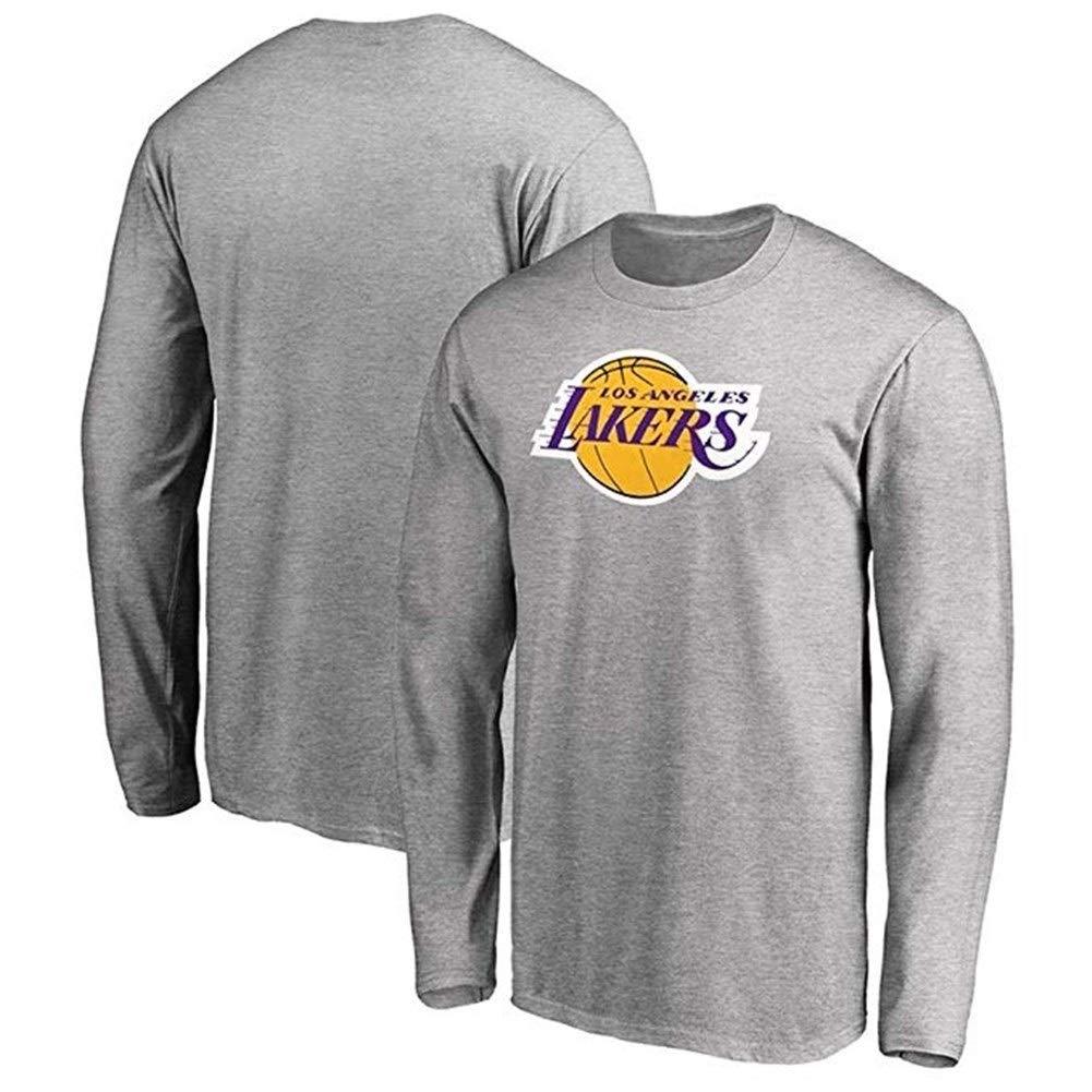 Color : Gray, Size : S ZSPSHOP Camiseta De Manga Larga Y Camiseta Deportiva Casual De Los Hombres De La NBA Los Angeles Lakers De Los Hombres