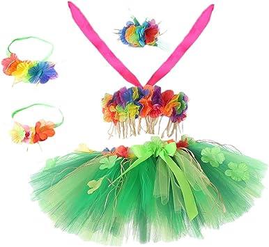 Amosfun Falda de Hierba Hawaiana Traje de Bailarina Falda de Hula ...