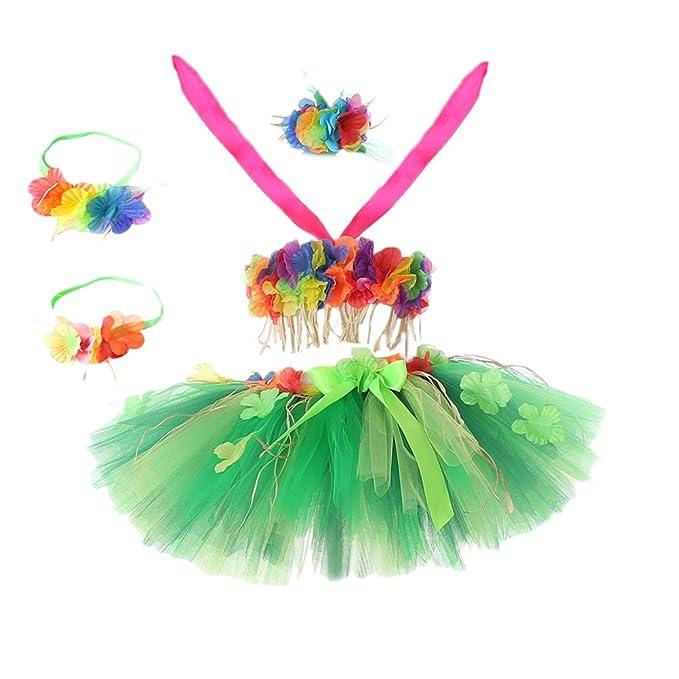 Amosfun Traje de Falda de Hierba Hawaiana Bailarina Hula ...