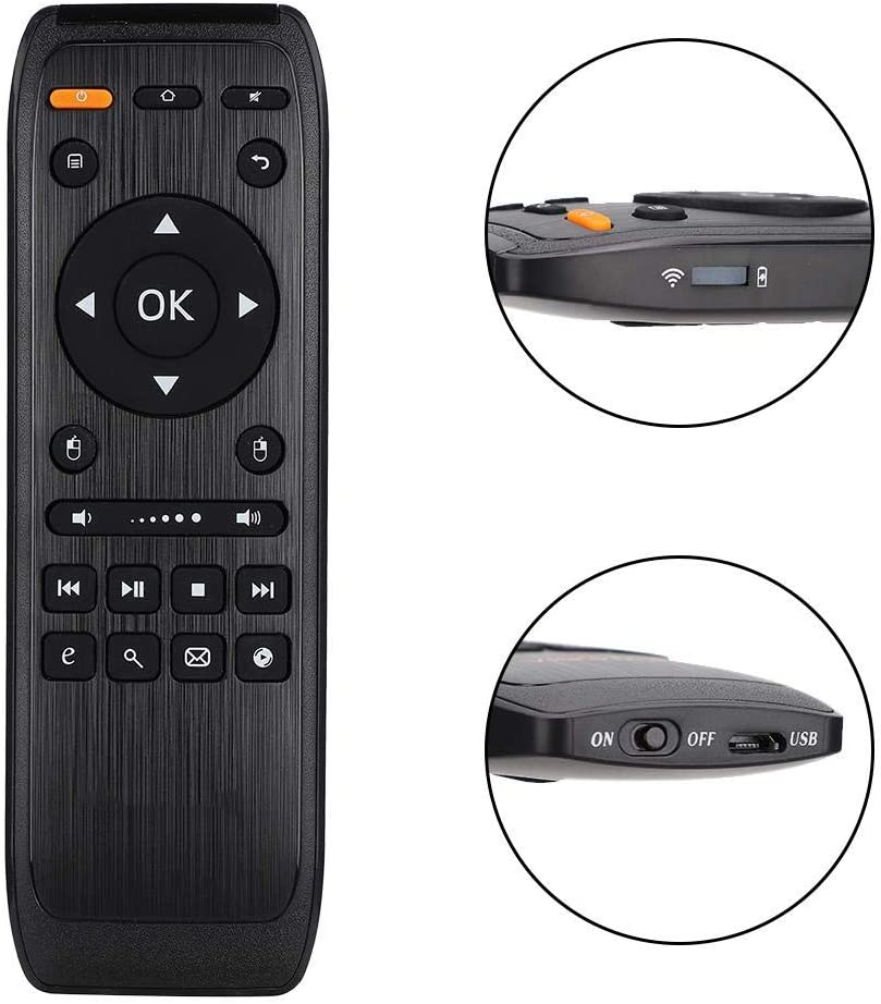 Smart TV STB Remote Controller,2.4G Wireless Air Fly Mouse Keyboard,USB Receiver,for Android Remote Control Function ASHATA 91S Double-Sided Keyboard