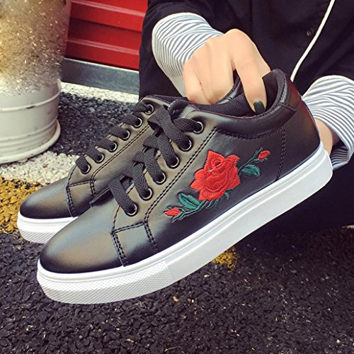 Bovake Casual Sneakers Shoes, Fashion Women's Straps Sports Running Sneakers Embroidery Flower Shoes - Embroidered Flower Little White Shoes With Sports Board Shoes Beige