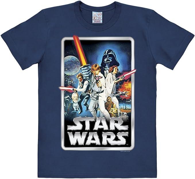 Maglia Guerre Stellari Maglietta Girocollo Blu Scuro Logoshirt T-Shirt Guerre Stellari Poster Star Wars Design Originale Concesso su Licenza