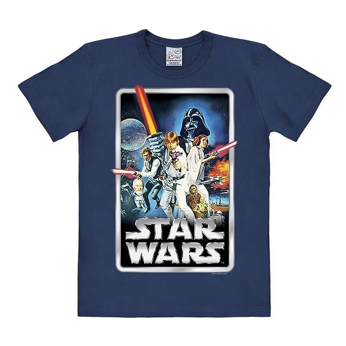 Camiseta La Guerra de las Galaxias - Póster - Camiseta Star Wars - Poster - Camiseta con cuello redondo de LOGOSHIRT - Azul Oscuro - Diseño original con ...