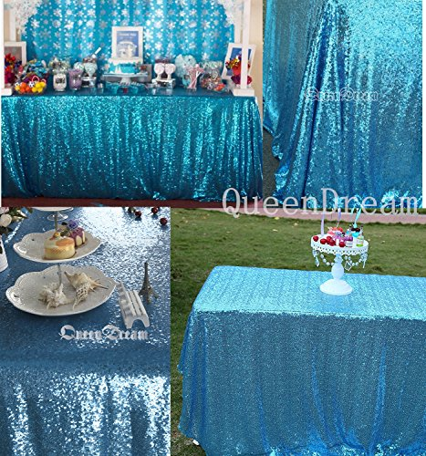 QueenDream Aqua Blue sequin tablecloth 90 x 132 Inch sequin Tablecloth for wedding/Party/Photography/Curtain/Birthday/Christmas/Prom/Other Event Decor