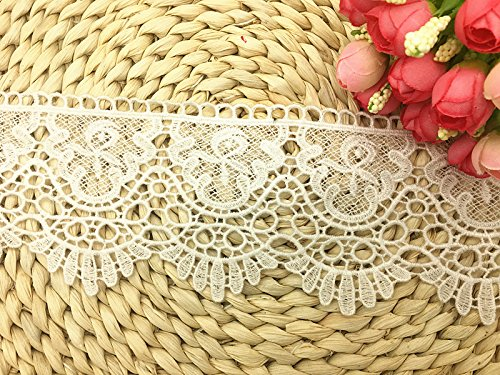 9CM Width Europe Crown Pattern Inelastic Embroidery Lace Trim,Curtain Tablecloth Slipcover Bridal DIY Clothing/Accessories.(2 Yards in one Package) (White)