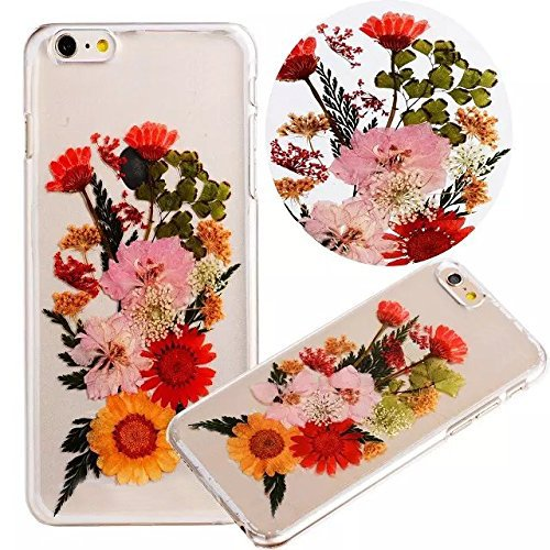 iPhone 8 Case, iPhone 7 Natural Dried Flower Case, Vandot Real Pressed Flower Soft TPU Case Handmade Exclusive Clear Premium Protective Back Cover - 3D Chrysanthemum Daisy Bouquet Petal Floral Blossom