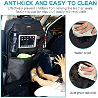 - Waterproof Car Seat Back Protectors Car Seat Organizers with Multi Pockets for iPad Tablet Tissue Box Bottle and Baby Travel Accessories Kick Mats Acekool Car Kick Mats 2 Pack