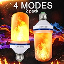 Omicoo 2 Pack LED Flame Effect Fire Light Bulbs E26 E27 4 Modes With Upside Down Effect Simulated Decorative Light Atmosphere Lighting Vintage Flaming Lamp for Holiday Hotel / Bar / Party / Home