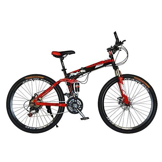 Huoduoduo Bicicleta De Bicicletas De Montaña De 26 Pulgadas De Velocidad Variable Plegable Y El Marco De Absorción De Choques, La Luz del Manejo Regalo De ...