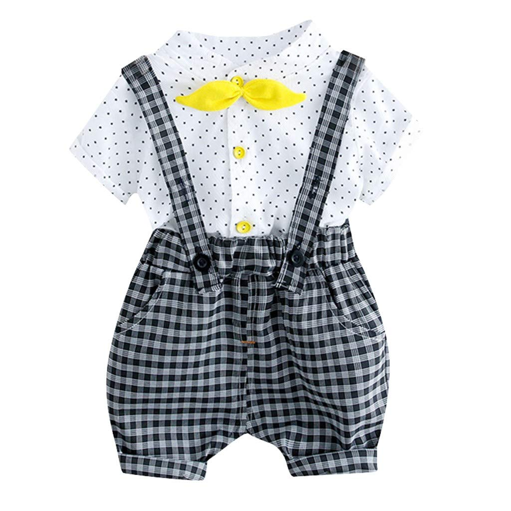 Cute Baby Boys Girls Outfits 0-3 Years Old Dot Print Bow Tie Tops Shirt+Plaid Overall Shorts Pants Classic Clothes Set