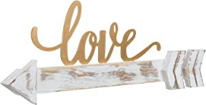 MyGift Shabby Whitewashed Wood Arrow with Brass Tone Metal Love Word Sign, Decorative Wall Art