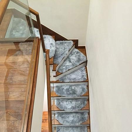 XOCKYE Autoadhesivas Antideslizante Escalera Escalera peldaños pisadas tapetes Alfombra Shaggy@Beige_Los 85x24cm: Amazon.es: Hogar