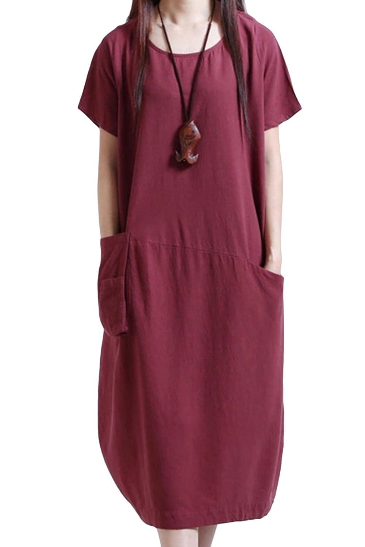 6aea5770d5 ASHER FASHION Women s Dresses Short Sleeve Casual Midi Dress Summer Loose  Beach Linen Dress at Amazon Women s Clothing store
